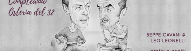 Caricatura di Beppe Cavani e Leo Leonelli ad opera di Ferro Biffarella